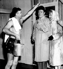 """Joe Lombardi helps Bob Hope and Lucille Ball on set of the 1960's """"The Facts of Life."""""""
