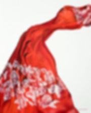 Figurative oil painting series titled: Scarf Series. Red fabric floats along the canvas. By artist Michele Murtaugh
