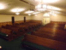 Angled image of the interior of the empty church
