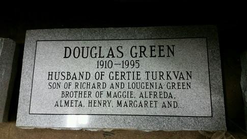 Douglas' new tombstone