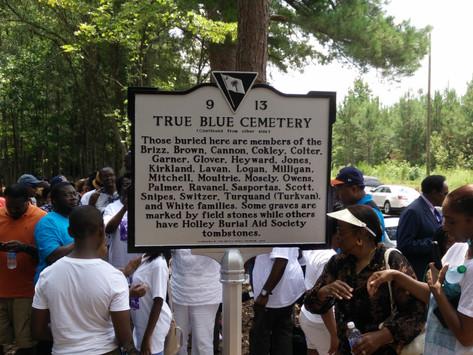 True Blue Cemetery Marker