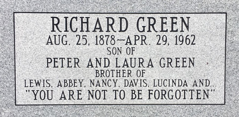 New tombstone for Richard Green