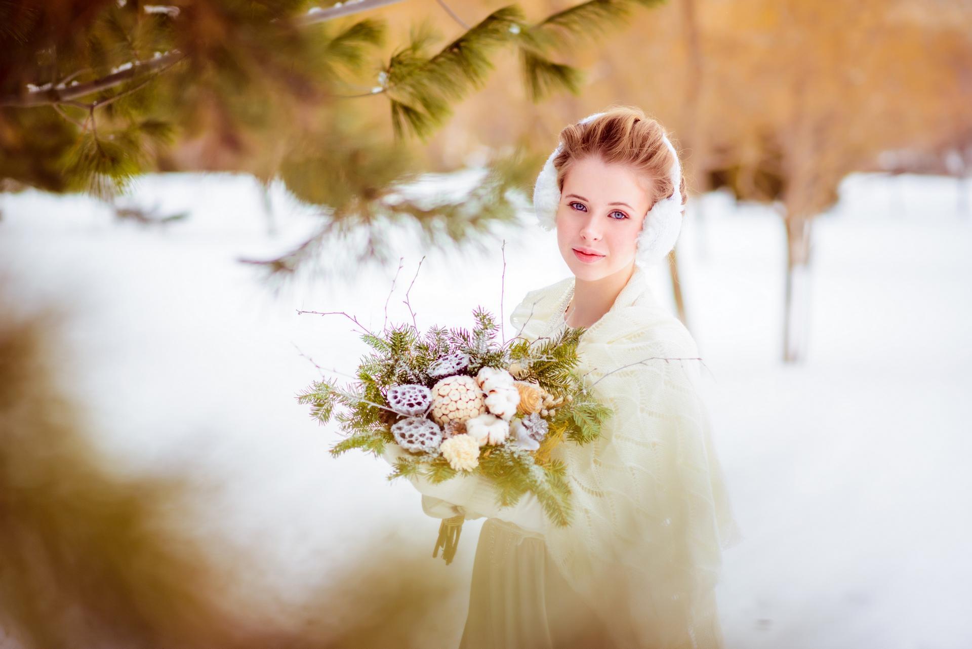 портрет невесты зимой