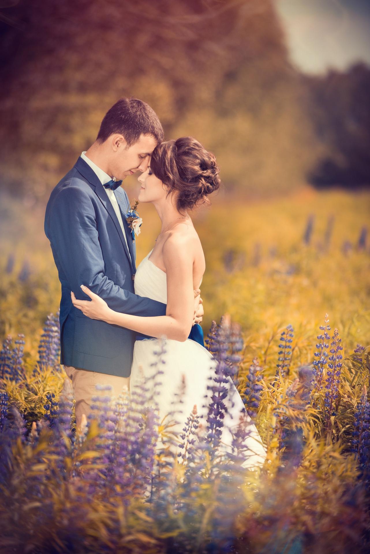 летнее свадебное фото
