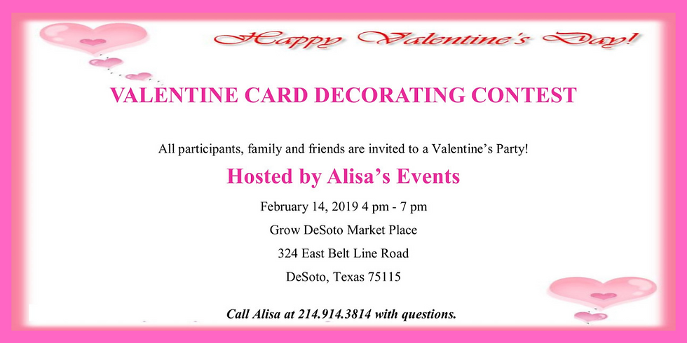 Valentine Card Decorating Contest hosted by Alisa's Events