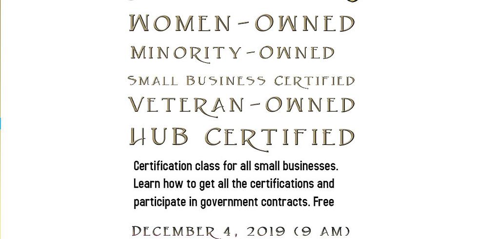 Women and Minority Certification Class  FREE
