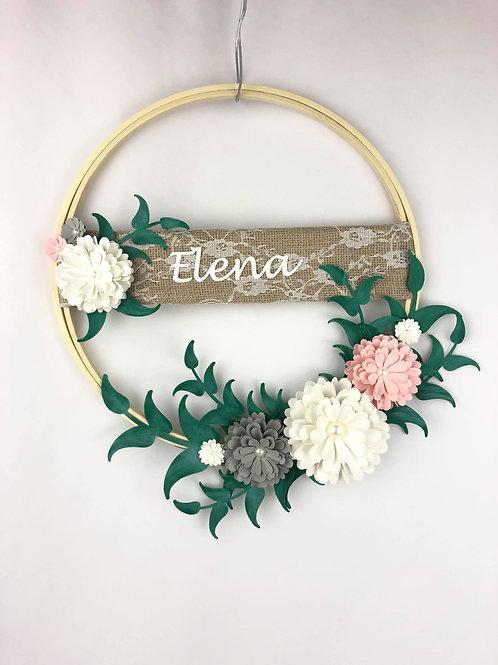 Cerceau floral Fleurigami avec prénom