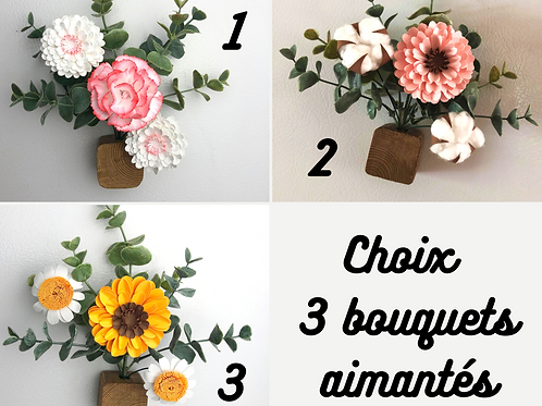Bouquets aimantées sur cube de bois