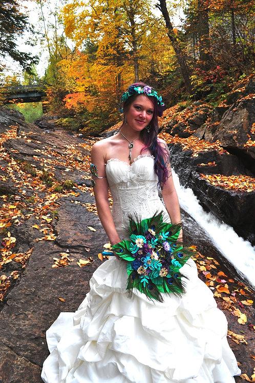 Bouquet mariage plumes de paons