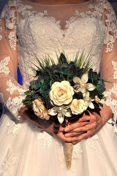 Bouquet bohème en papier avec succulentes