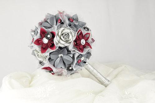 Bouquet fleurs Fleurigami Gris/Argent/Framboise