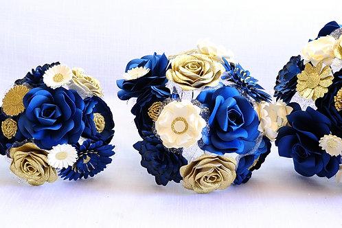 Bouquet de fleurs avec roses or Fleurigami