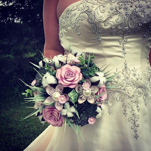 Bouquet succulente et fleurs de coton Fleurigami
