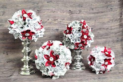 Bouquet fleurs fait en papier scintillant argent