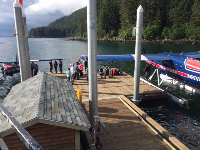 Mary greeting new guests.  Love the new float plane dock!