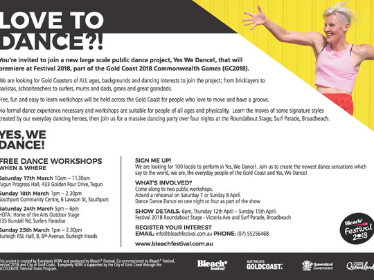 Yes, We Dance! Workshop Dates Announced