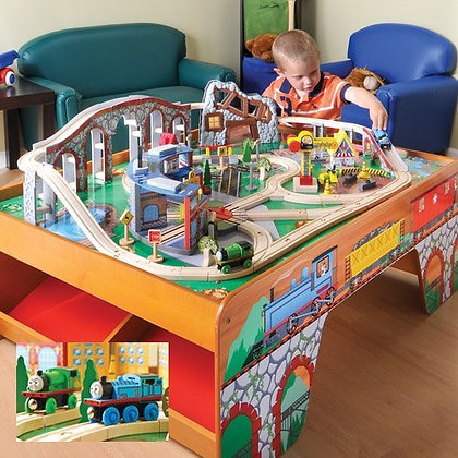 Wood train table with talking thomas and percy