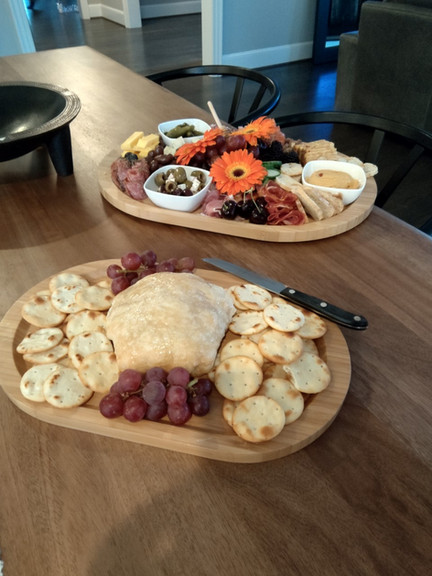 charcuterie board and baked brei