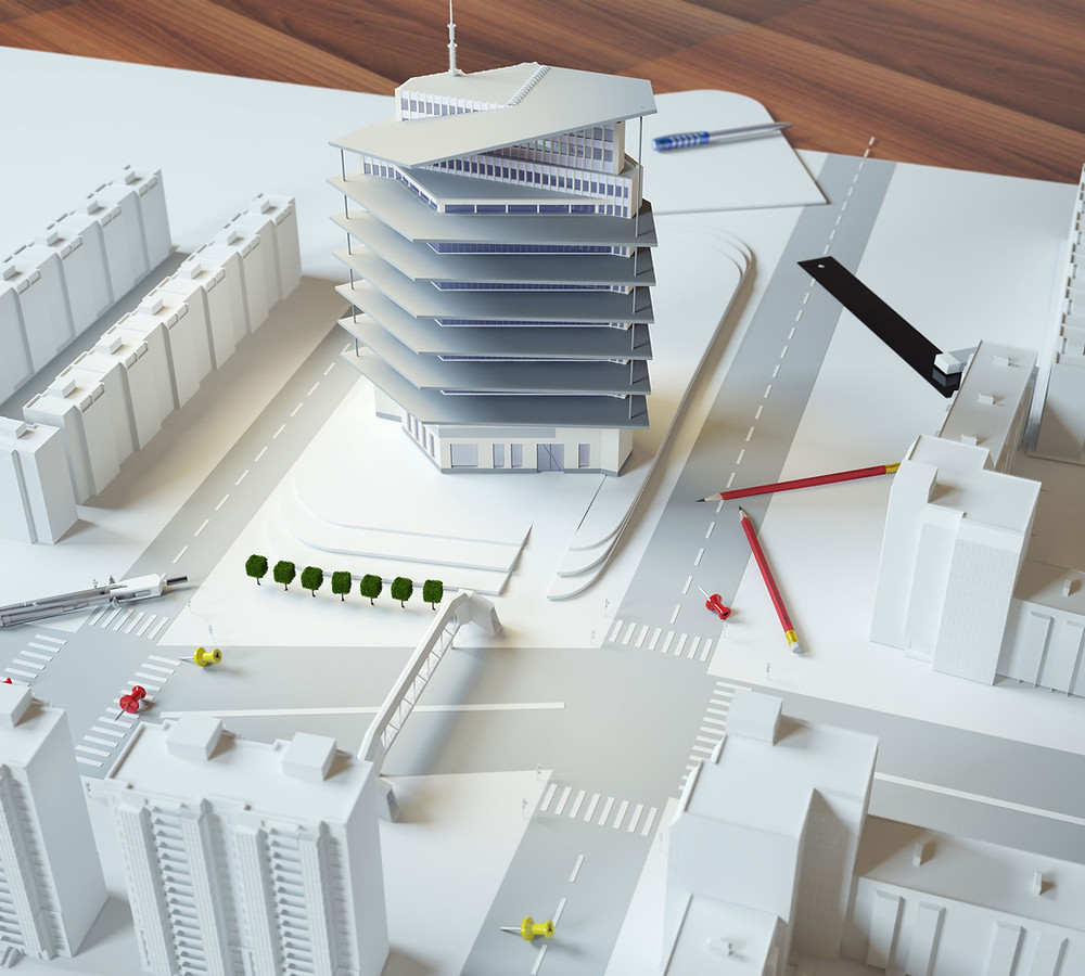 Picture of a model depicting some buildings