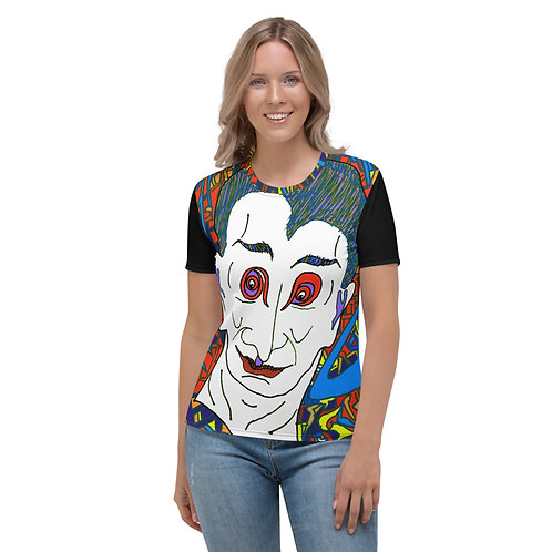 Women's T-shirt  Count Dracula, Prince of Darkness (black back and sleeves)
