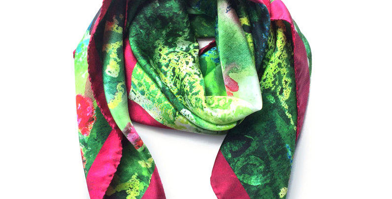 Silk Scarf - 'SUMMER GARDEN' Square