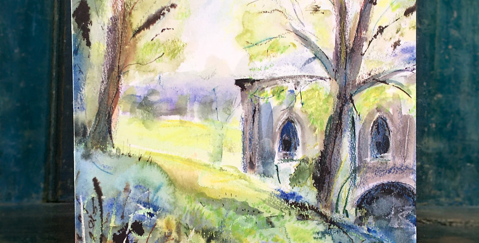 Greetings Card - 'Fountains Abbey Spring