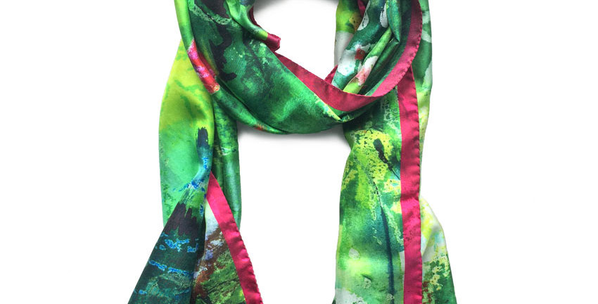 Silk Scarf - 'Summer Garden' (long)