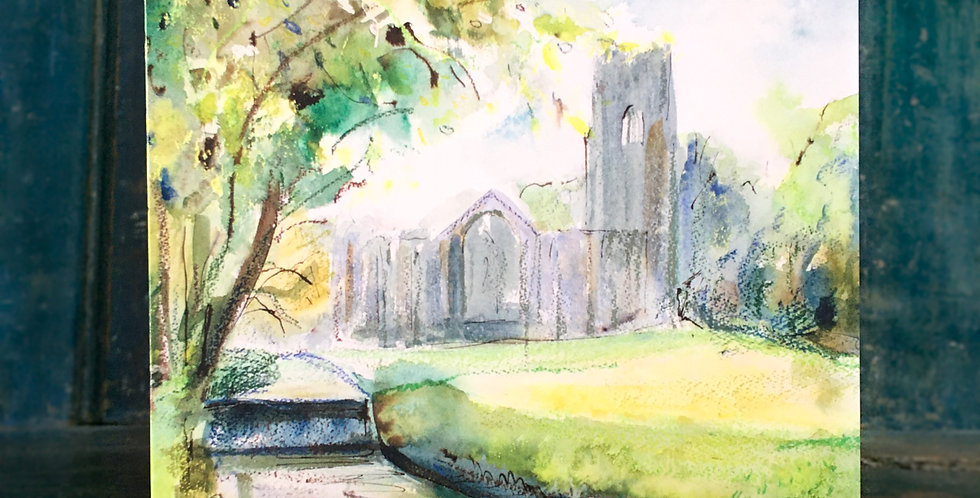 Greetings Card - 'Fountains Abbey Spring Light'