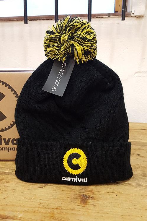 Carnival Logo Bobble Beanie - Black/Yellow