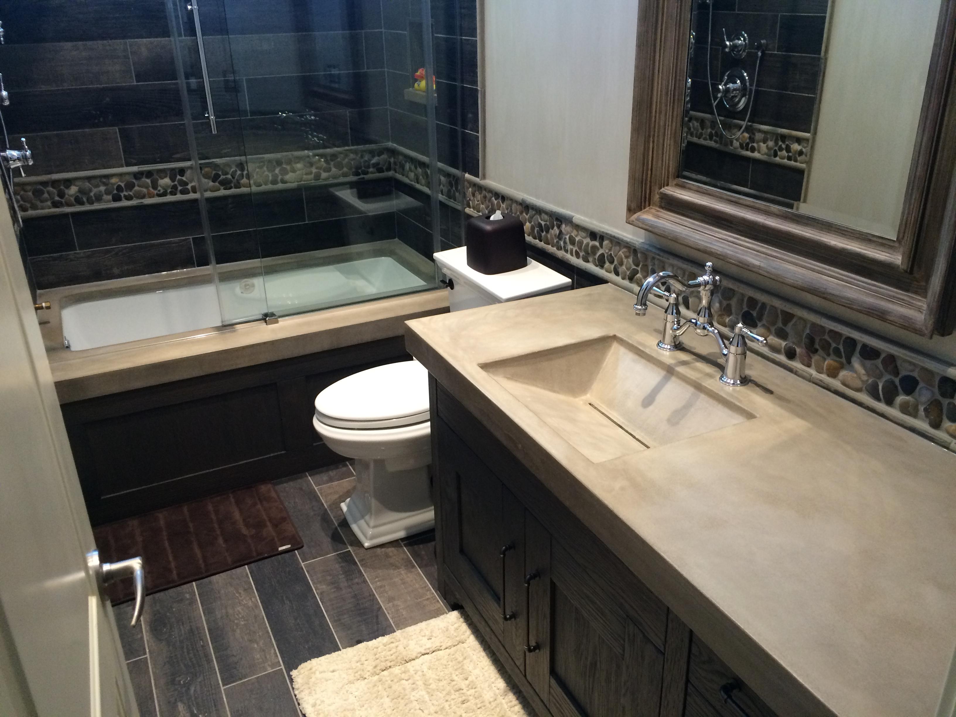 Bathroom Vanity and Tub Surround