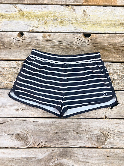 Women's Navy Striped Boat Shorts
