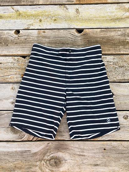 Men's Navy Striped Boat Shorts