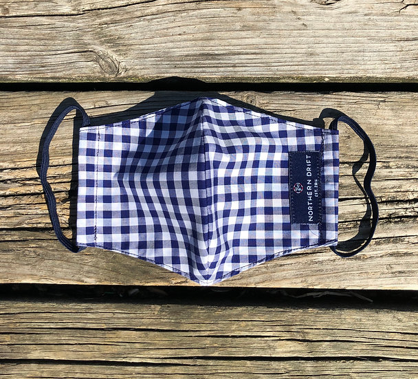 Navy Gingham Facemask