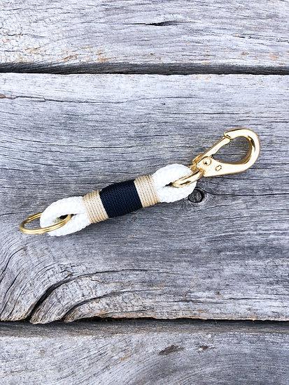 White/Navy Keychain