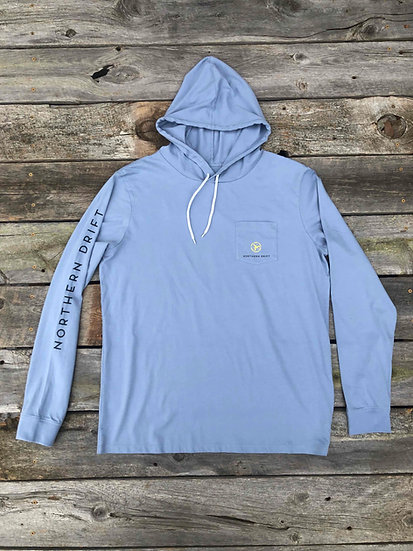 Long Sleeve Hooded Tee - Storm Blue
