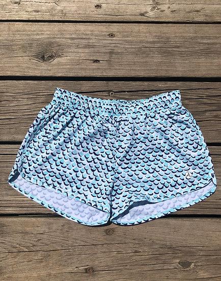 Aqua Freshwater Mermaid Print Shorts