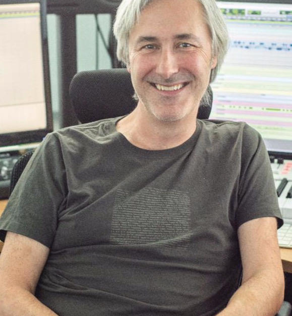 Producer/Composer Neil Davidge wearing our 'Be Square' T