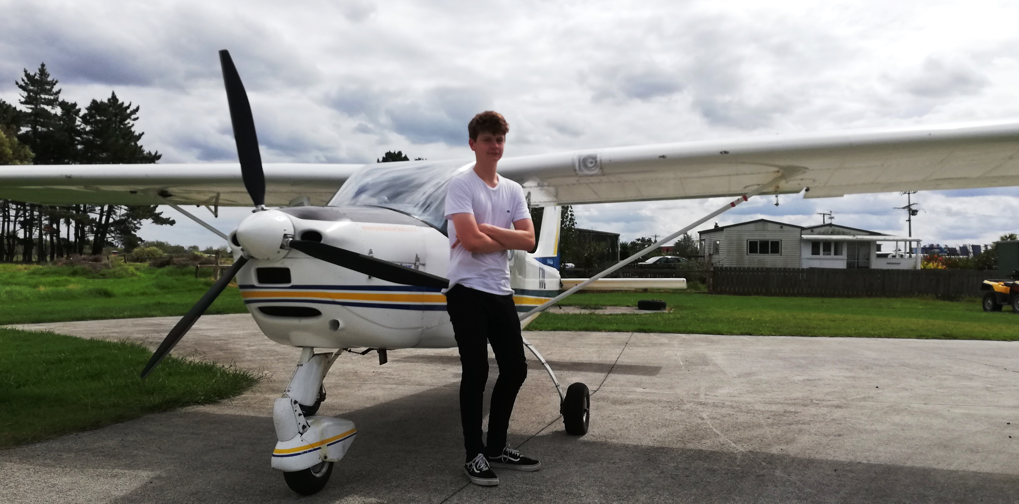 Lochlan  after his trial flight