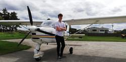 Lochlan  after his trial flight
