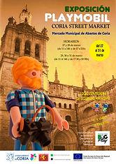 Cartel Exposición Playmobil Coria Street Market realizada por BIGPLAY PLAYMOBIL EXTREMADURA
