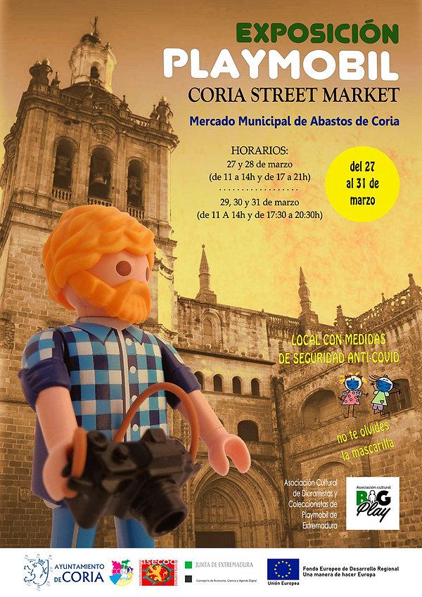 Cartel Exposición Playmobil Coria Street Market realizada por BIGPLAY con la catedral de Coria como fondo de la ilustración