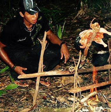 Roasting Chicken in the Amazon Manaus Brazil Jungle Survival Tour Jaguar Amazon Tours