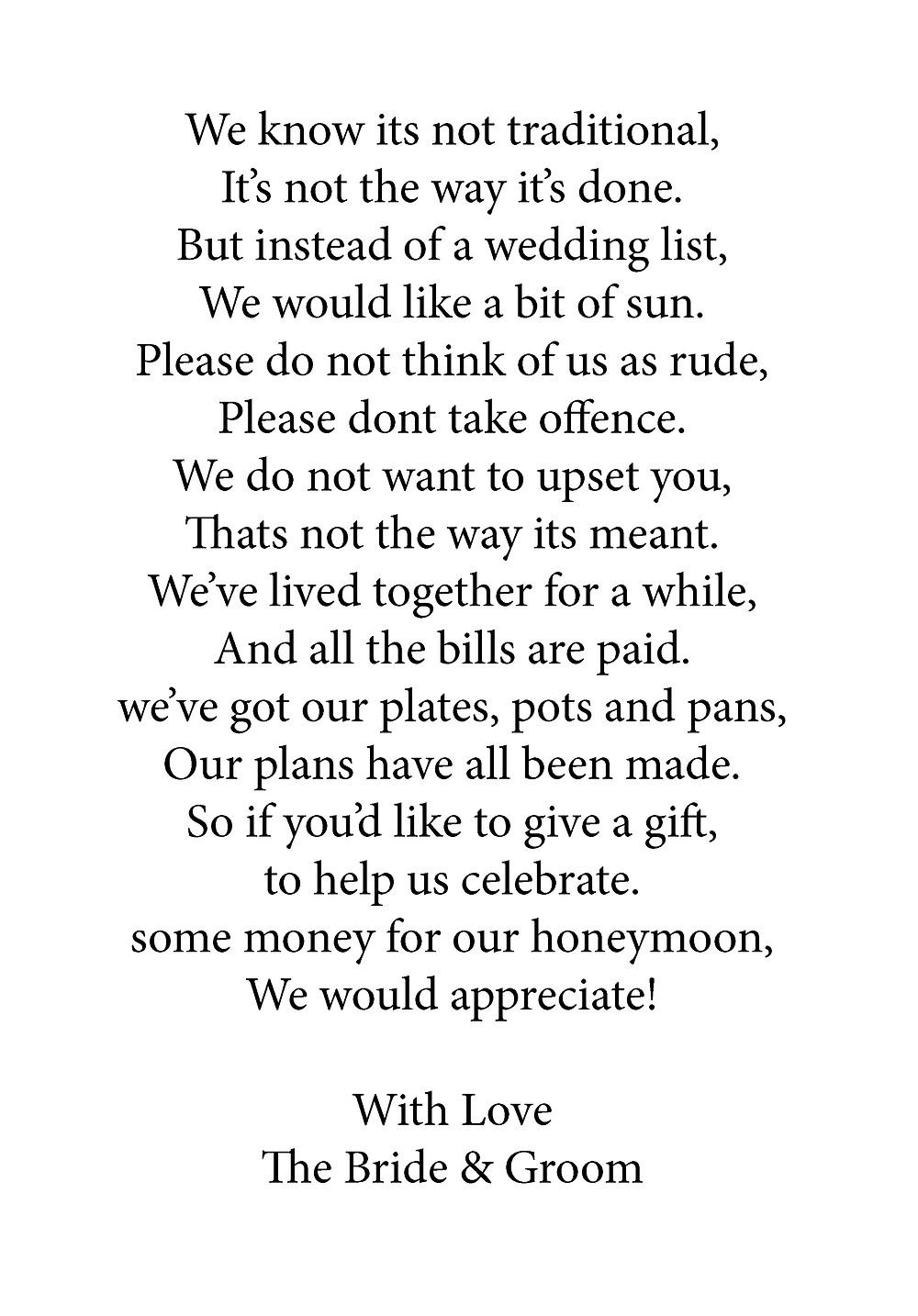 money giving poem for wedding day, lowestoft wedding hire