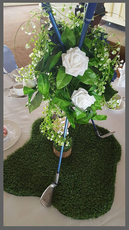 lowestoft wedding hire, golf club centre piece, golf club wedding, grass centre piece, themed wedding, the hotel victoria, kirkley cliff