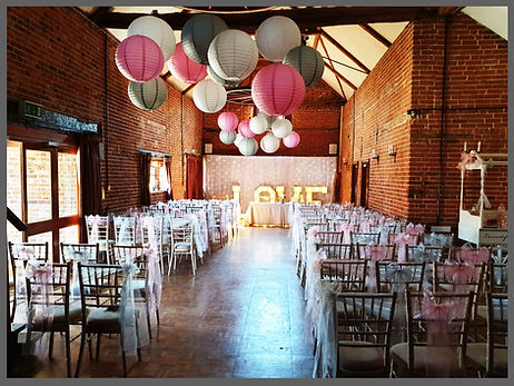 lowestoft wedding hire, barn wedding, park hill hotel, pink wedding, silver wedding, candy cart, backdrop, starlight backdrop, wedding backdrop, flower wall, light up love letters, 4ft love letters, chairs for weddings, chair sashes, handing lanterns, suffolk brode, norfolk bride