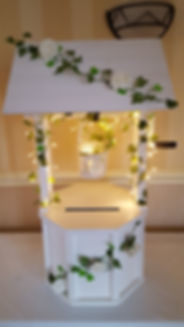 wishingwell post box fairy lights ivy  wedding cards  wedding post suffolk norfolk lowestoft roses white roses victoria hotel