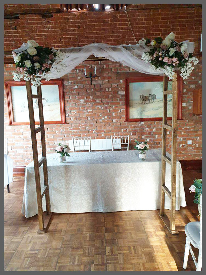 LOWESTOFT WEDDING HIRE, PARK HILL HOTEL OULTON BROAD, wedding day, ugly wall, wooden arch, rustic arch, wedding arch, blush pink wedding, get that barn feeling with this rustic arch to get married under, centre pieces, mason jar wedding, norfolk bride, suffolk bride, weast anglia weddings, wedding hire, wow items, barn weddings, love me.