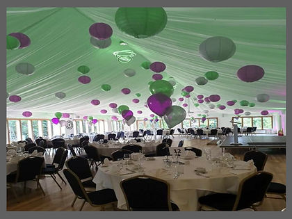 lowestoft wedding hire, ivy house country hotel, suffolk wedding venue, norfolk wedding, east anglia wedding hire, hanging lanterns, paper lanterns, balloons, balloon centre pieces