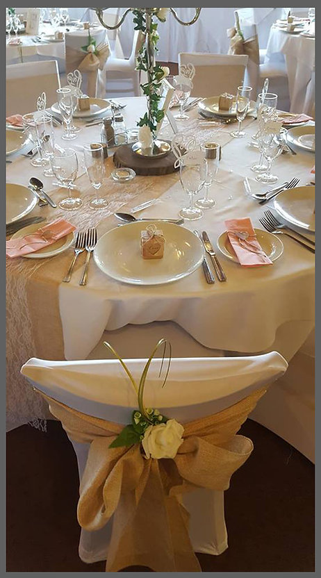 lowestoft wedding hire, rookery park golf club, hessian sashes, whire rose wedding, chair detailing, knife folk, wedding favour, log slice centre piece, candelabra, table numbers, name place settingd, wine glasses, love is love, best day ever, suffolk weddings, norfolk weddings, suffolk bride, norfolk bride