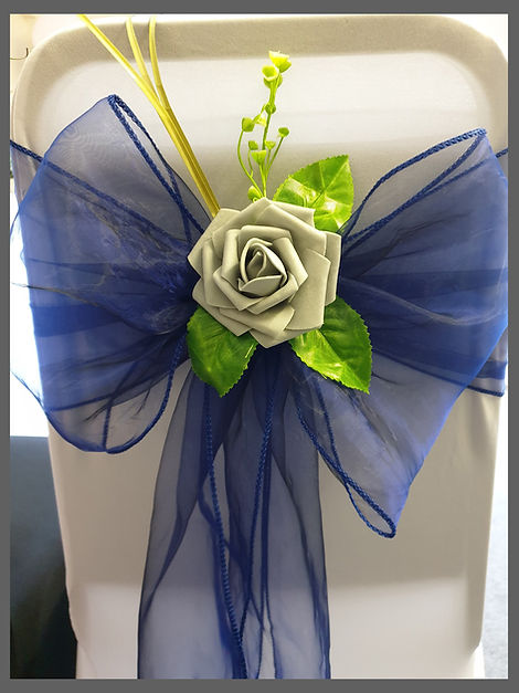 lowestoft wedding hire, venue dressing specialist, venue styling specialist, grey rose, silver rose, navy wedding, chair covers, organza sashes, perfect day, waveney wedding, rookery park golf club, the hotel victoria, the wherry hotel, hotel hatfield, wavwney house hotel, hensted pavillion